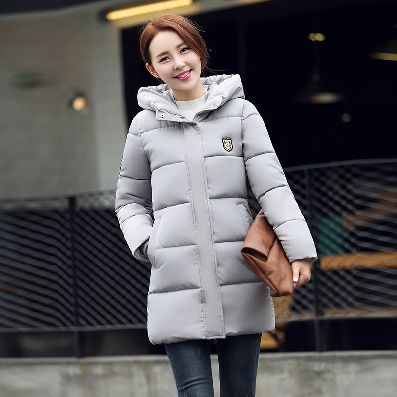 2016 Korean Winter New Real Slim Down Jacket Leisure Long Thick Cotton Padded Female Badge Free