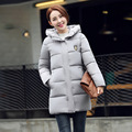2016 Korean Winter New Real Slim Down Jacket Leisure Long Thick Cotton Padded Female Badge Free Shipping