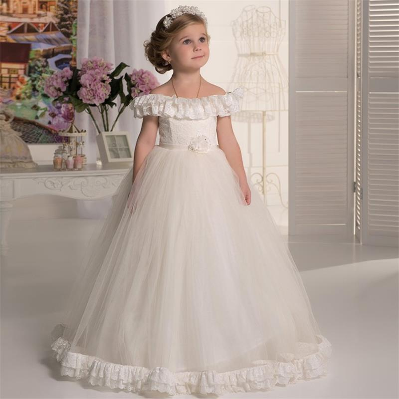 New Design Boat Neck Lace Flower Girl Dresses First Holy