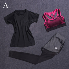 Women's Yoga Fitness Sport 3Piece Sets T-shirt+Bra Vests+Pants Gym Clothes Tight Training Leggings Breathable Sportswear YF25