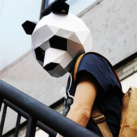 Origami DIY 3D Paper Stereoscopic China Mascots David Panda Mask Cosplay Halloween Party Mask Prop Collection