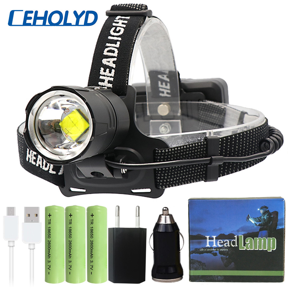 AGM CREE USB Head Torch Headlamp 18650 Battery LED Rechargeable Headlight