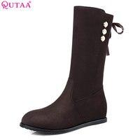 QUTAA 2018 Women Mid Calf Boots Slip On Low Heel Solid Black Westrn Style Round Toe