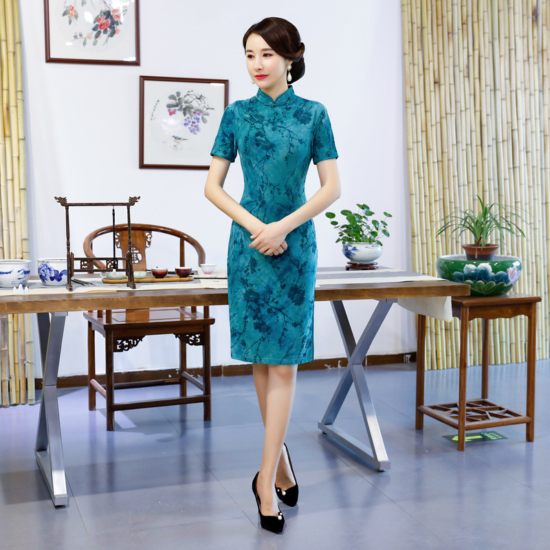 Elegant Chinese Women Oversize Qipao M-3XL Autumn Velvet Prom Party Dress Traditional Mandarimn Collar Cheongsam Sexy Vestidos