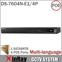 Ds-7604n-e1 / 4 P con 4 independientes Interfaces canales y 4POE HD 5MP para IP Network Camera Video Recorder Multi-language
