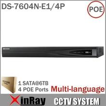 Ds-7604n-e1 / 4 P con 4 independientes Interfaces canales y 4POE HD 5MP para IP Network Camera Video Recorder Multi-language
