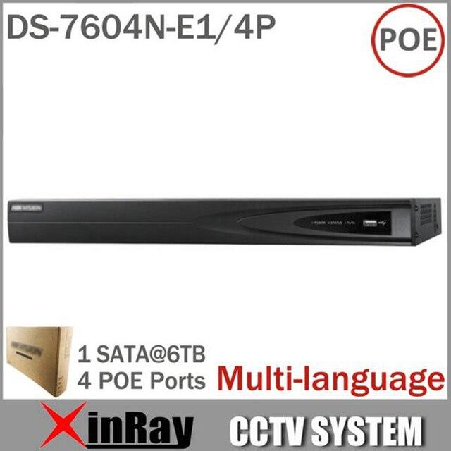 Ds-7604n-e1 / 4 P с 4 независимых интерфейсы 4CH и 4POE HD 5MP для IP камера сетевой видеорегистратор многоязычным