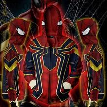 цена на Spiderman Cosplay Costume Sweatshirt Hooded Uniform Zipper Unisex Zipper Hoodies Top Sweatshirt Jacket Coat
