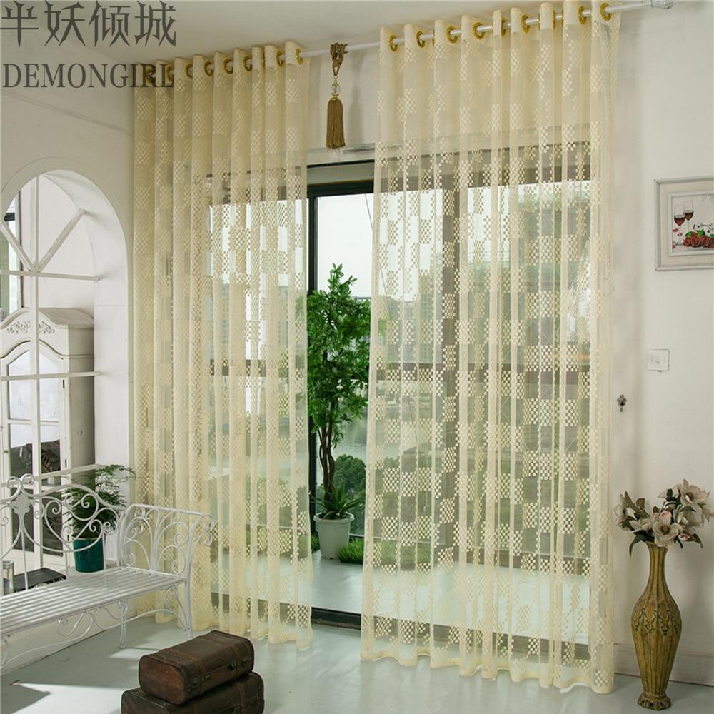 Demongirl moda tulle telas transparentes jacquard cortinas for Sala de estar estancia cocina abierta