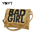 YBYT brand 2017 new bad girl PU leather women fashion envelope clutch ladies party purse shoulder crossbody bag evening bags