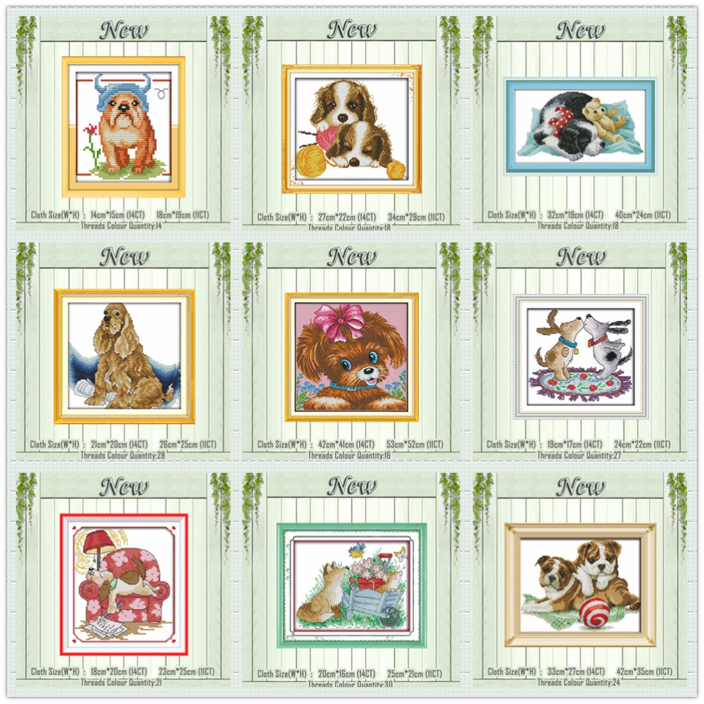 Bulldog Irish Setter dog puppy animal painting counted print on canvas DMC 14CT 11CT Cross Stitch Needlework Sets Embroider kits