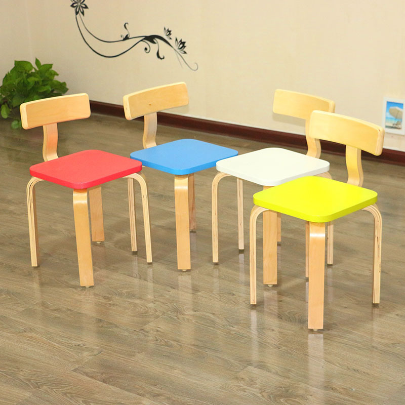 Kindergarten Backrest Children's Solid Wood Kindergarten Chair Curved Wooden Toddler Chair