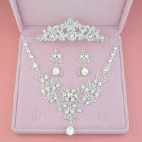 Crown famous brand 3 pieces Headwear + earrings + necklace bride lace headdress jewelry sets Korean wedding girlfriend gift