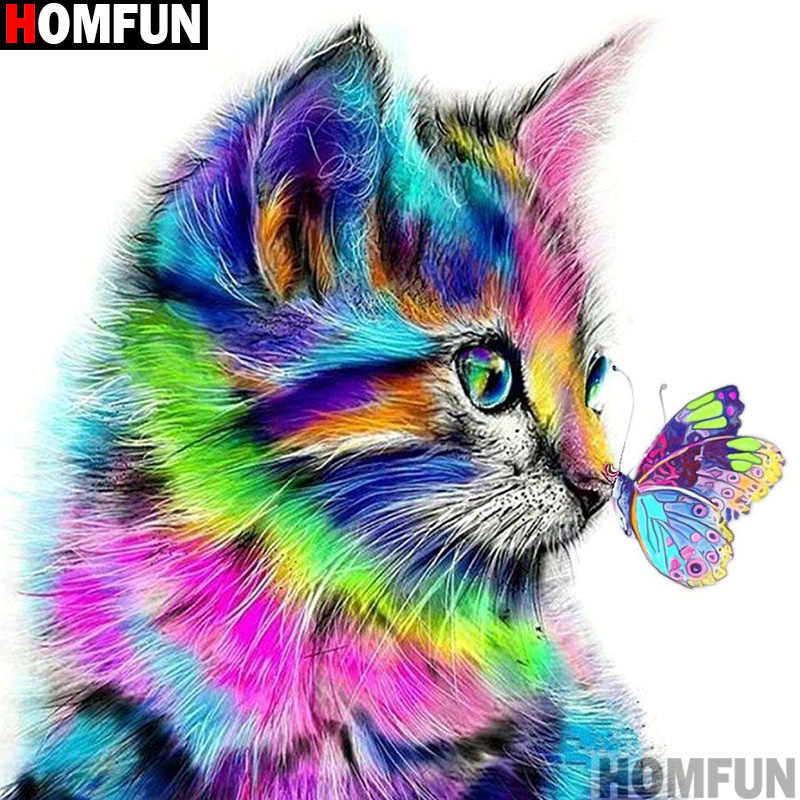 "HOMFUN taladro cuadrado/redondo completo 5D DIY pintura de diamante ""gato mariposa"" 3D bordado punto de cruz 5D decoración del hogar regalo A13636"