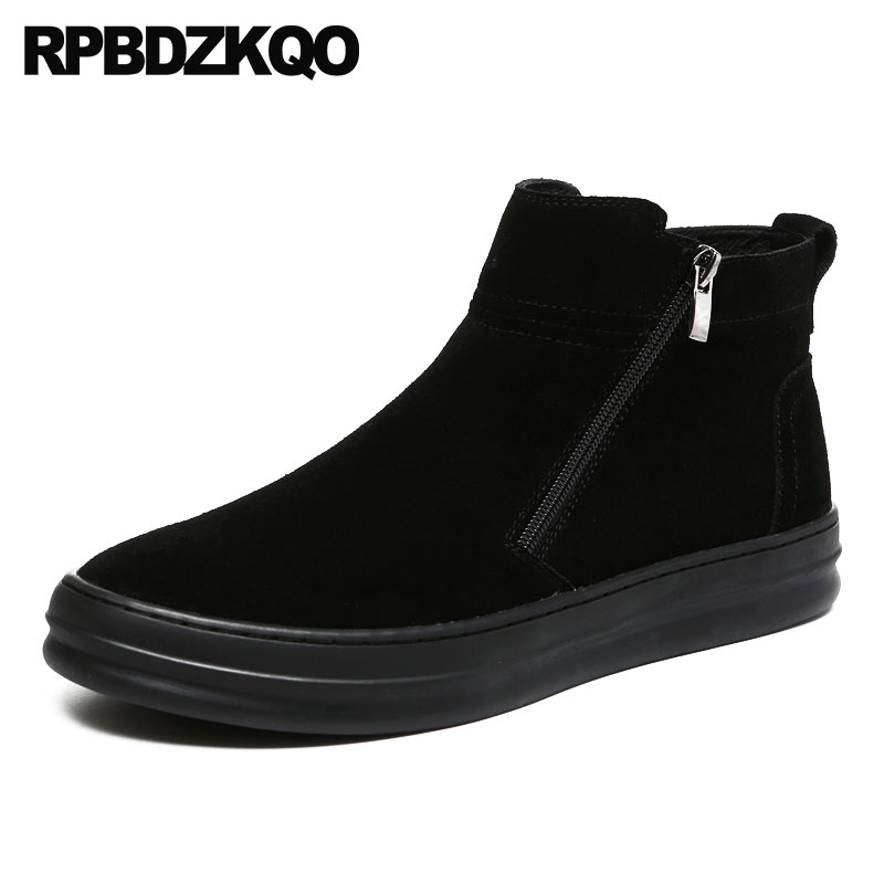 Ankle Trainer Suede Men's Shoes Flat Black Boots Warm Booties High Sole Top Men Zipper Winter British Style Sneakers Faux Fur stud high top flat booties metalic sneakers rock ankle shoes winter men boots with fur brown rivet punk black zipper trainer