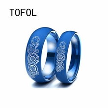 TOFOL Doctor Who Titanium Steel Mens Rings Around the Film Width 8 MM Blue Men Women Ring-holder Couple Ring Wedding Bands Jewel
