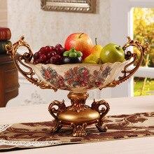 home decoration accessories Creative European Fruit Pan Large Luxury Resin Living Room Tea Table Decoration