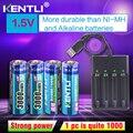 4 Pces Kentli Aa 1.5 V 3000mwh Polímero Lítio Li-ion Baterias Recarregáveis Bateria  4 Slots Usb Li-ion Carregador De Bateria