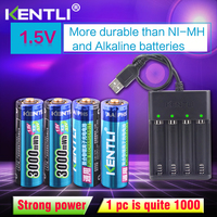 4pcs KENTLI AA 1.5V 3000mWh polymer lithium li ion rechargeable batteries battery+4 slots USB li ion battery charger