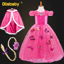 Hot Christmas Girl Rapunzel Cosplay Princess Costume Winter Children Clothing for Girls Cinderella Party Tutu Holiday Sofia Gown