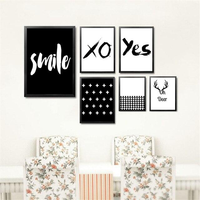Fresh Smile Yes Deer Black White English Letters Wall Art Canvas  DJ67