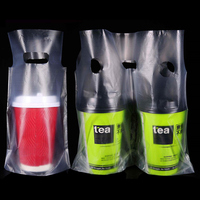 DHL Plastic Portable Shopping Bag Take Out Bags Clear Package For Single Double Cups Beverage Packing