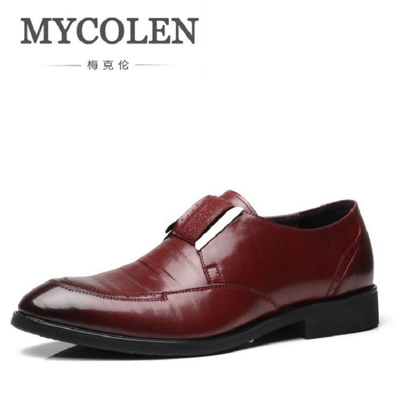 MYCOLEN Spring Autumn Men Formal Shoes Italian Luxury Business Dress Shoes Men Loafers Leather Man Flats Shoes Zapatos Hombre hand made genuine leather men shoes new 2016 spring autumn flat men shoes lace up loafers shoes oxfords for men zapatos hombre