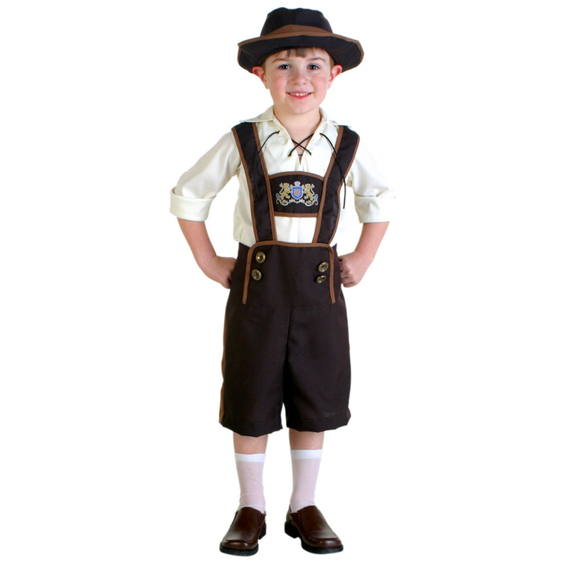 Boys Bavarian German Lederhosen Childs Kids Fancy Dress Costume Outift 5-7 Yrs
