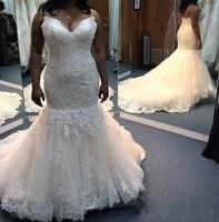 Spaghetti Straps Mermaid Wedding Dresses Lace Appliques Crystals Sash Lace Up Court Train Beach Vestido De