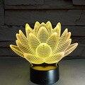 7 cores mudando luz colorida noite de Lótus 3D estereoscópico estranha ilusão visual Toque lâmpada LED lâmpada luz Decor IY803339