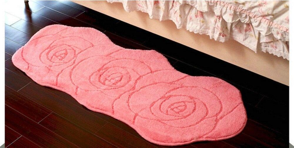 NiceRug livraison gratuite microfibre mignon romantique Rose en forme de salle de bain salon maison mariage décoration tapis tapis Mat-20x47