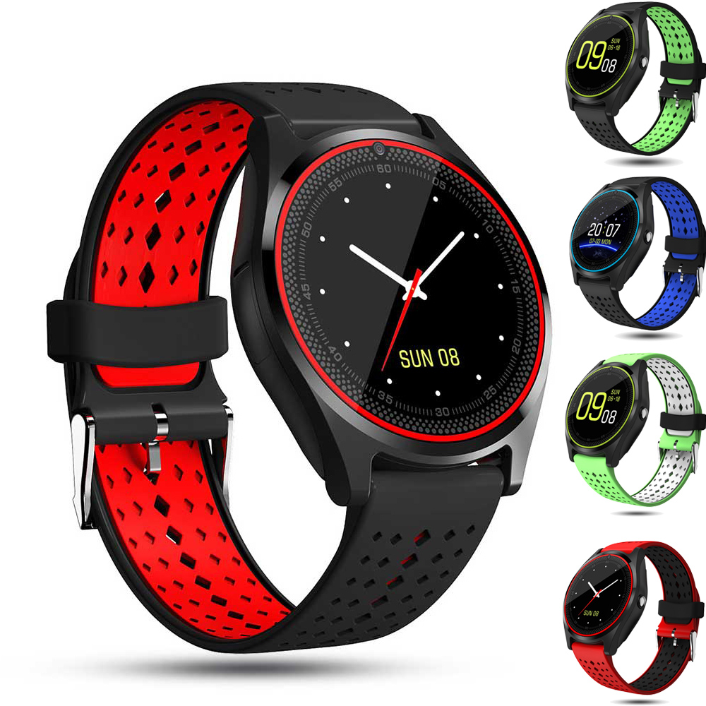 V9 Smart Watch Camera Bluetooth Dial/Call SIM TF Card Fitness Tracker Reminder Sleep Monitor Bracelet For Android Phone Pk DZ09