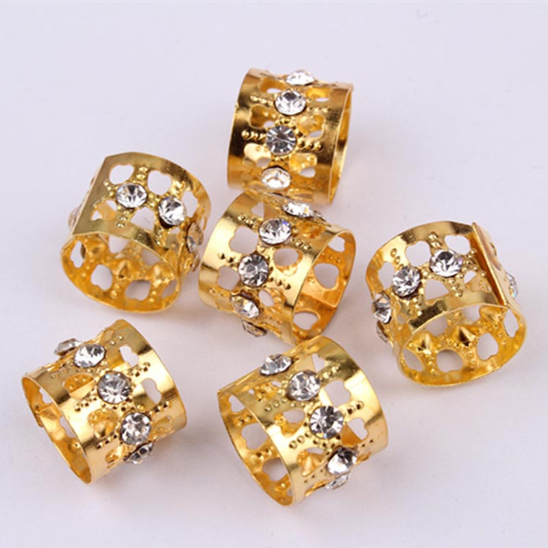 20pcs Gold Rhinestone Hair Dread Braids Dreadlock Beads Adjustable Braid Cuffs Clip Heart Shape Hair Extension Tool Jewelry 13mm