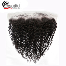 "Beautiful Queen 100% Remy Brazilian Kinky Curly Human Hair Lace Frontal Closure 13x4 With Baby Hair Natural Color 10""-20"" Inch(China)"