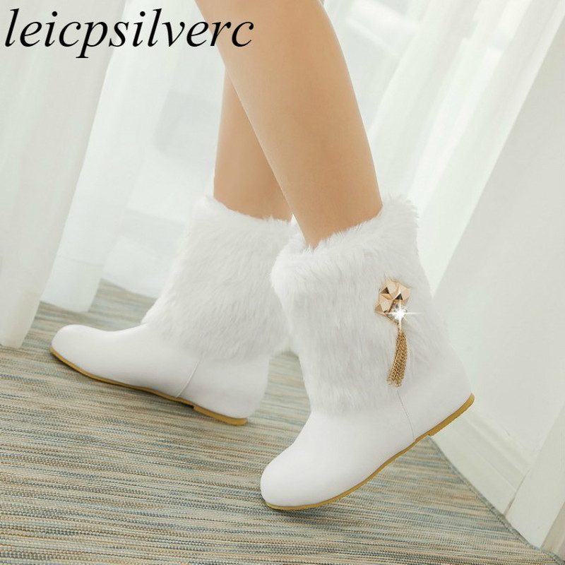 Women Boots Autumn Winter Warm Fur <font><b>2018</b></font> New <font><b>Sexy</b></font> Fashion Pu Mid-calf Motorcycle Snow Boots Black Pink White High-heeled <font><b>Shoes</b></font> image