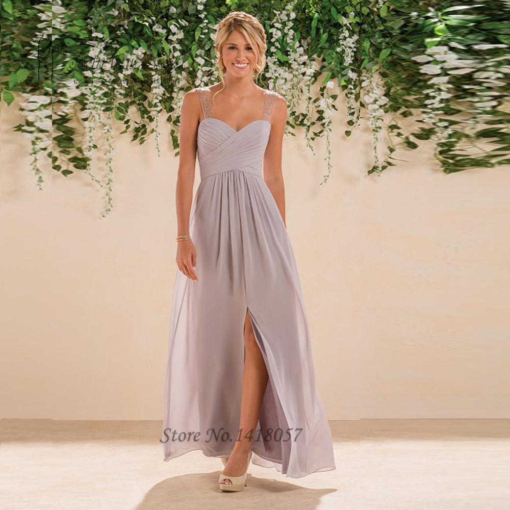 Online buy wholesale light gray bridesmaid dresses from china light gray sexy bridesmaid dresses long beaded split chiffon wedding party dress gowns floor length vestido ombrellifo Gallery
