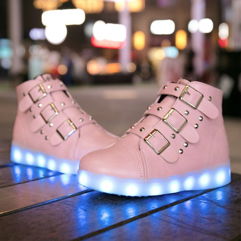 Luminous Sneakers Womens Children Led Girls Shoes for Kids Glowing USB Charging Light Up Sneakers Led Slippers luminous glowing sneakers children kids led shoes breathable zapatos shining children usb charging kids led shoes 50z0005