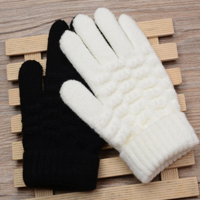 8-15 Years Old Students Warm Gloves Cute Five Fingers Solid Color Etiquette White Performance Dance Gloves B42