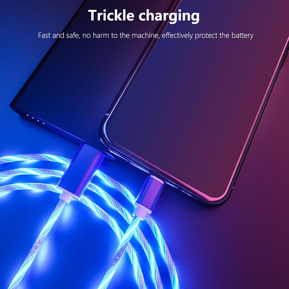 Image 4 - Светящийся кабель мобильного телефона зарядный кабель светодиодный Micro usb type C зарядное устройство для iPhone X samsung Galaxy S8 S9 зарядный провод шнур-in Кабели для мобильных телефонов from Мобильные телефоны и телекоммуникации