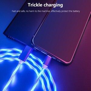Image 4 - Cable brillante para carga de teléfono móvil, Cable de carga con luz LED, Micro USB tipo C para iPhone X, Samsung Galaxy S8, S9