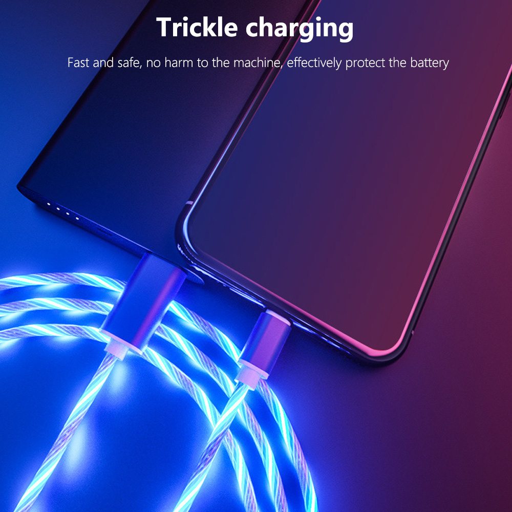 Glowing Cable Mobile Phone Charging Cables LED light Micro USB Type C Charger for iPhone X