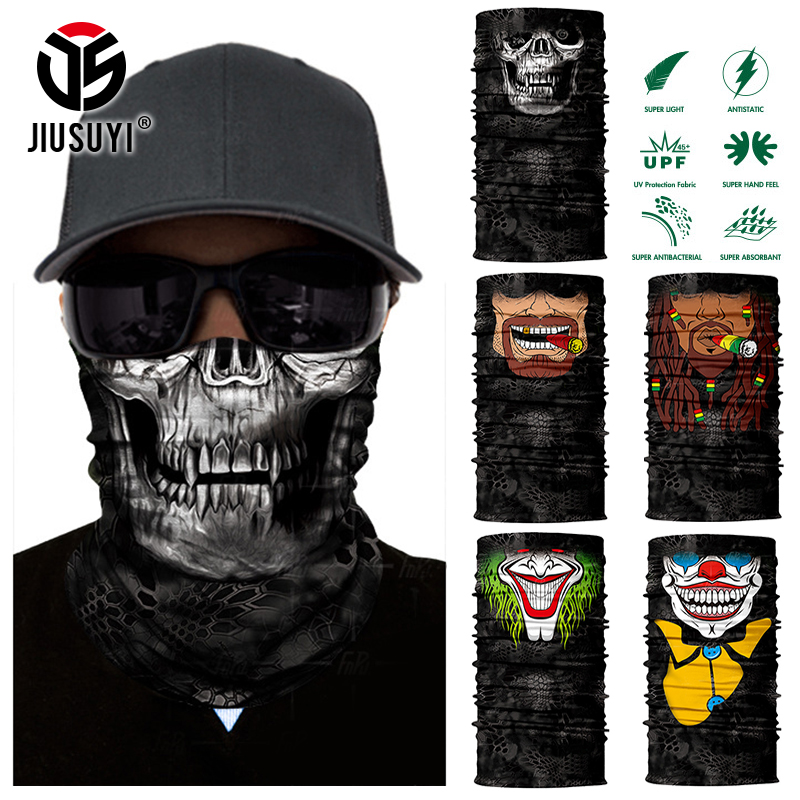 3D Seamless Magic Headband Skull Ghost Clown Neck Gaiter Face Mask Headwear Halloween Bandana UV Protection Bicycle Cover Scarf
