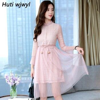 94c78a60fce Осень Зима Новинка Плюс Размер винтажные кружевные сексуальные миди платья  2018 корейские однотонные женские облегающие розовые вечерние пл.