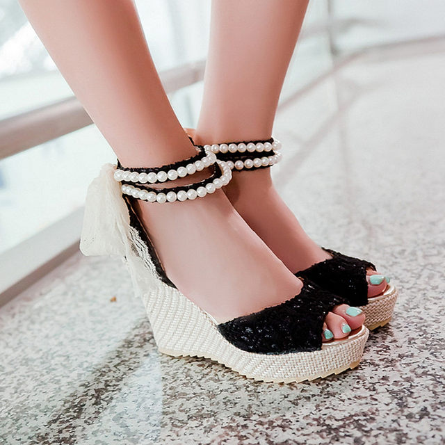 a10b7973b94b Online Shop Ladies Sandals Summer Casual Sandals Women Luxury pearl ...