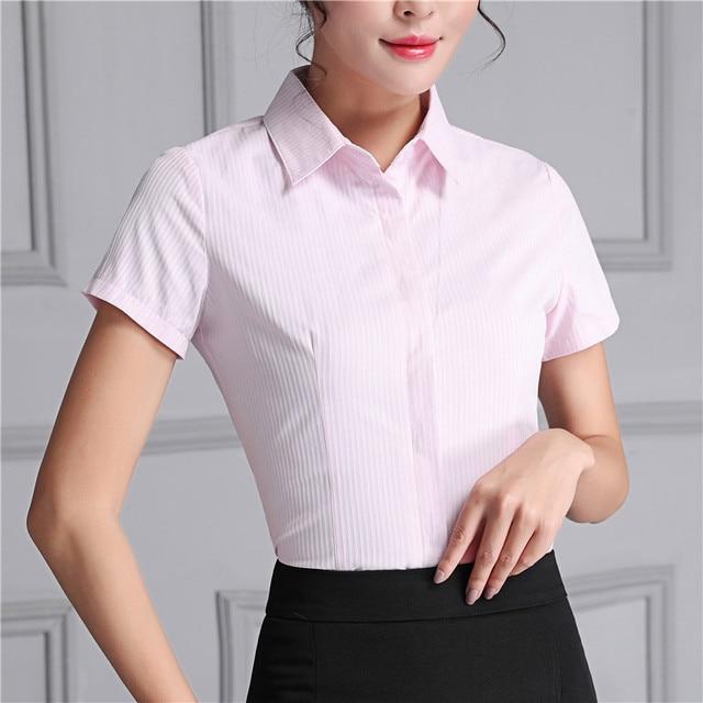 OL elegant striped shirt women s short sleeve formal dark button design  blouse office ladies plus size fashion tops work wear d009247d7