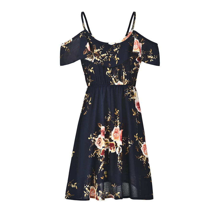 Women Chiffon Off The Shoulder Ruffle Sleeveless Dress Summer Elegant Ladies A-line Short Floral Print Beach Dress