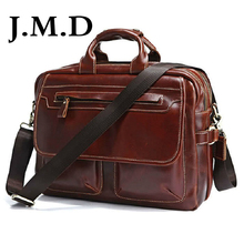 J.M.D LOW Price Rare Genuine Cow Leather Men's Briefcase Laptop Messenger Bag Handbag 7085A