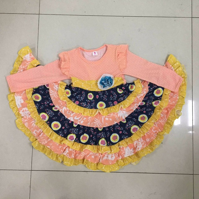 314d125ea58b Fashion New Persnickety Remake Baby Girl Boutique Clothing Ruffle Floral  Dress Cotton Princess Long Dresses CX011
