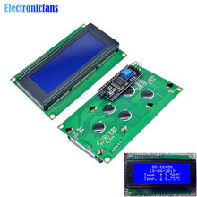Display azul iic i2c twi spi interface de série 2004 20x4 personagem hd44780 controlador azul backlight tela para arduino lcd