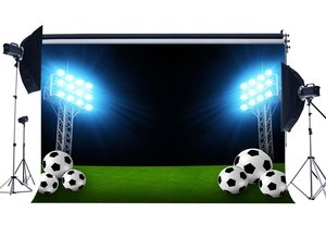Image 1 - Football Field Backdrop Indoor Stadium Bokeh Stage Lights Green Grass Meadow Sports Match Background